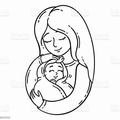 Coloring Mother Holding Pages Pregnancy Illustration Mom