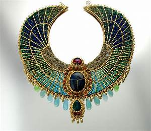 Egyptian Goddess - Scarab collar necklace with gemstones ...