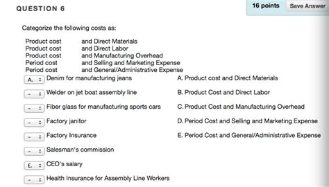Boat Insurance Direct Line by Solved 6 Categorize The Following Costs As Product Cost