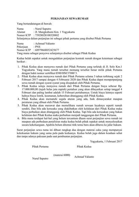 contoh surat perjanjian sewa rumah  baik
