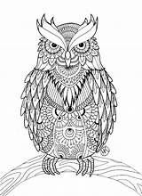 Owl Coloring Pages Adults Detailed sketch template