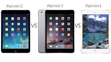 iPad mini 2 vs iPad mini 3 vs iPad mini 4 comparison - PC
