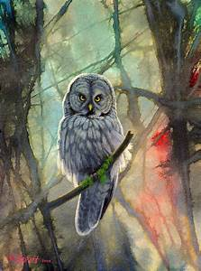 Great Grey Owl In Abstract Painting by Paul Krapf