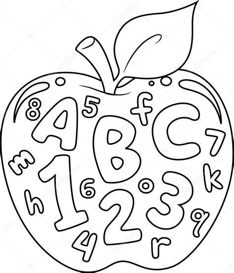 Página para colorear de letras y números Foto de stock