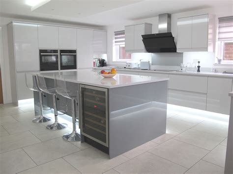 high gloss gray kitchen cabinets strada gloss light and dust grey new kitchens