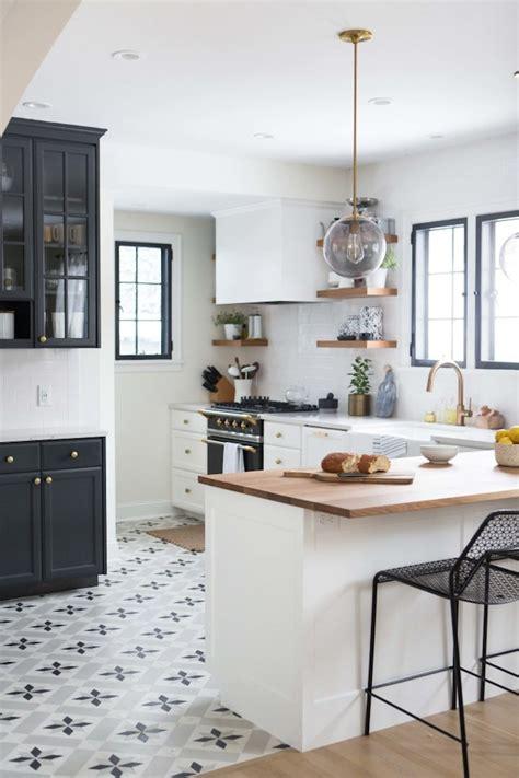 kitchen and floor decor charming black white and brass kitchen renovation