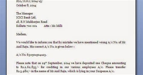 wrong bank account payment letter