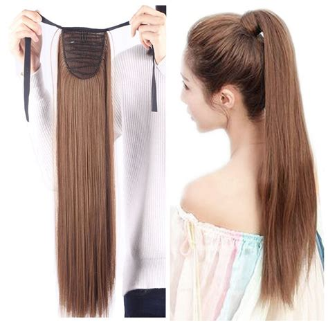 ponytail extension hairpiece hair extensions drawstring clip pony tail binding lady amazon woman tie
