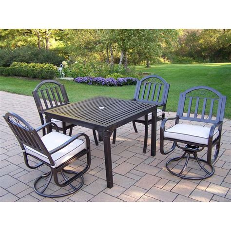 oakland living rochester 5 swivel patio dining set