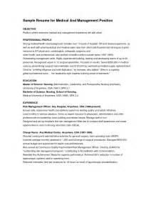 Free Exle Of Resume Objectives by Free Sle Objectives For Resumes Objective Exles Healthcare Manager Sle Resume For