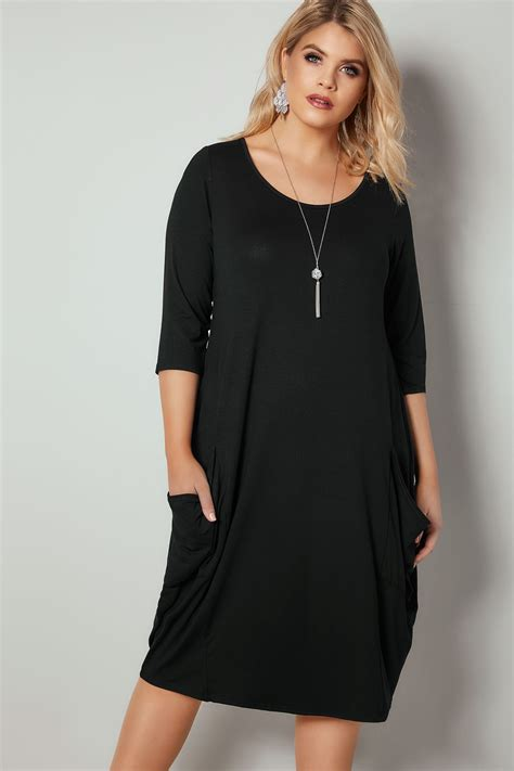 swing dresses black drape pocket jersey dress with 3 4 sleeves plus
