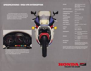 Racing Caf U00e8  Vintage Brochures  Honda Vfr 750 Interceptor 1986  Usa