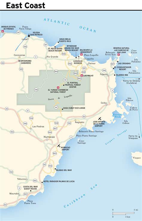 large detailed east coast map  puerto rico puerto rico