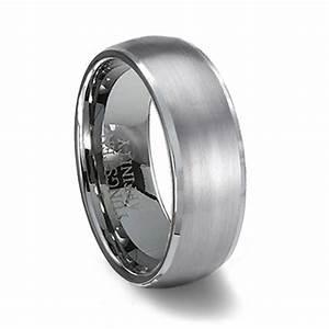Brushed Finish Domed Tungsten Wedding Band Polished Edge