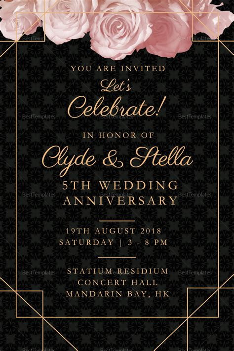 elegant wedding anniversary invitation design template