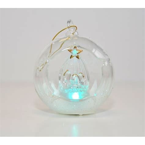 nativity light up glass ornament