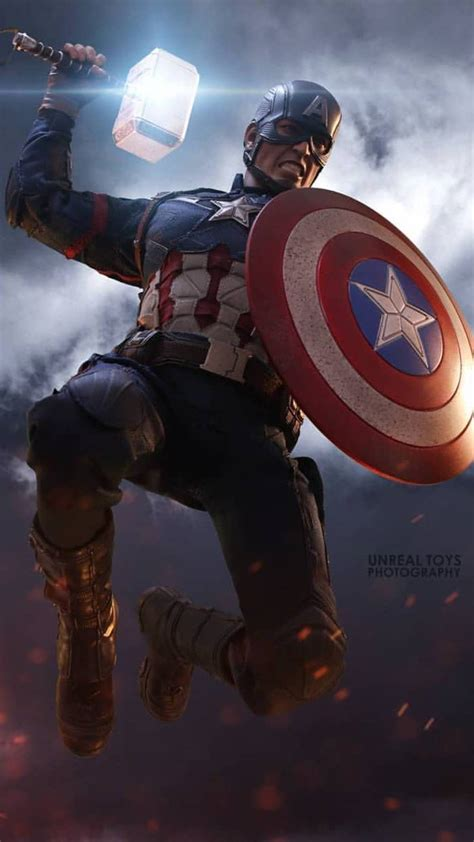 captain america lift thor hammer worthy iphone wallpaper