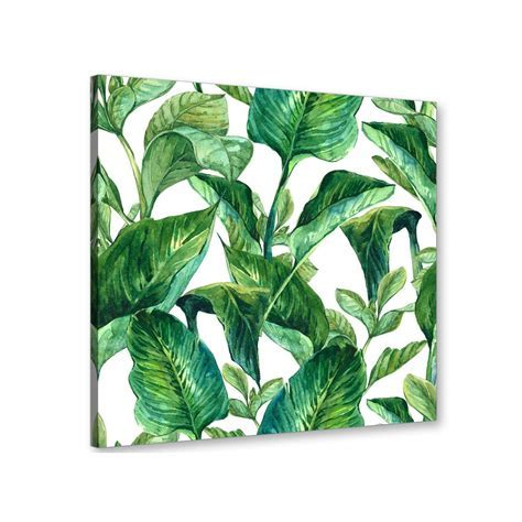 Green Palm Tropical Banana Leaves Canvas Wall Art Print