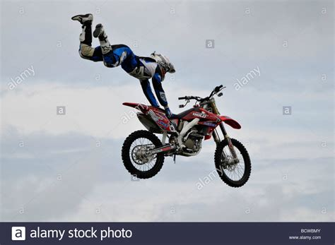 Motorcycle Stunt Rider Flying Through Air At A Show Cromer
