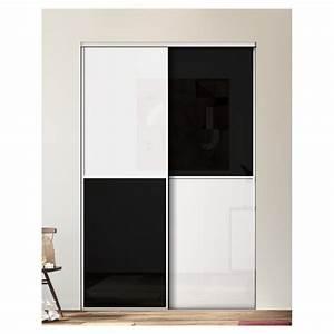 Portes Coulissantes Placard : kazed 2 portes karacter 1 verre noir et blanc achat en ligne ~ Dallasstarsshop.com Idées de Décoration