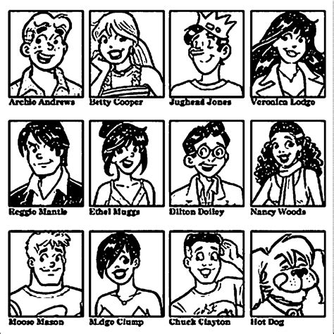 archie comics gang coloring page wecoloringpagecom