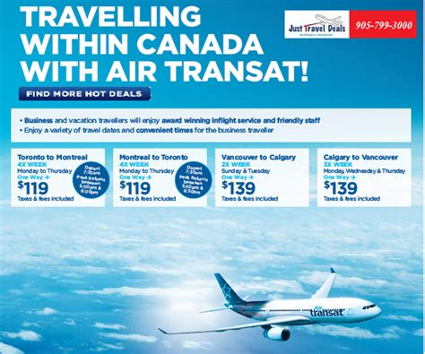 travelling within canada with air transat