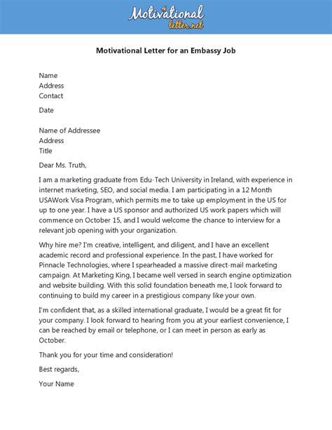 7+ free sample of motivation letter template for various purpose with writing tips, format & examples has been given in this article in editable word in your letter of motivation for a master's degree, highlight your past academic and professional experiences. Motivation Letter for an Embassy Job with Example PDF & Docx