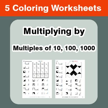 multiplying by 10 100 1000 coloring worksheets by