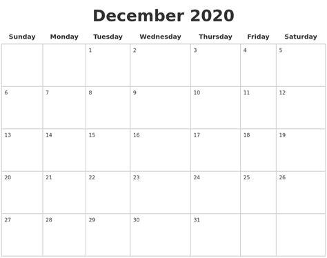 december blank calendar pages