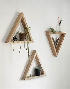 How to make simple wooden triangle shelves storage for Decorative wooden letters for shelves