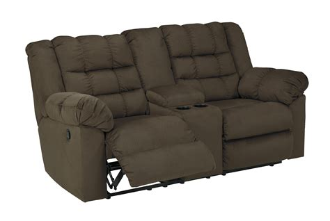 Fabric Reclining Loveseat With Console by Mort Contemporary Umber Fabric Reclining Loveseat W