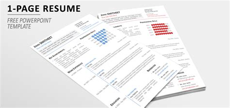 1 page minimalist resume cv template for powerpoint