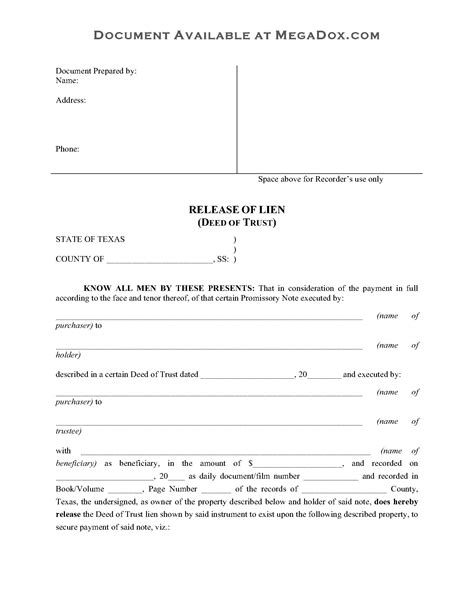 Trust Deed Template For Property In Colorado by Texas Release Of Deed Of Trust Legal Forms And Business