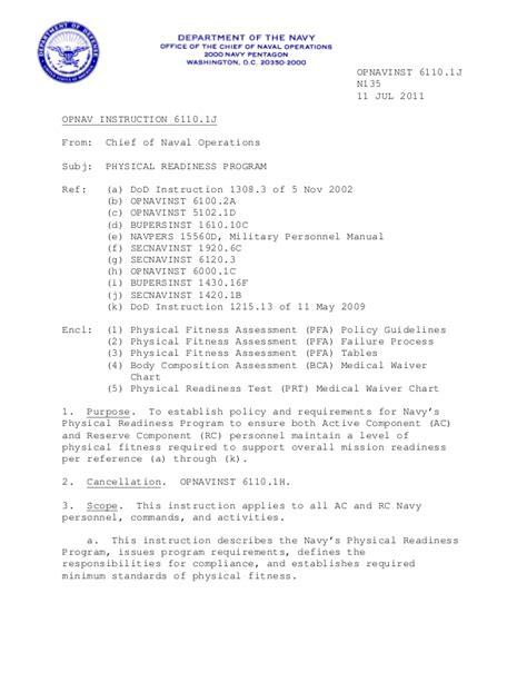 navy prt instructions