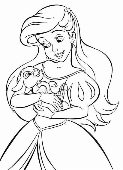 Coloring Princess Disney Ariel Pages Walt Characters
