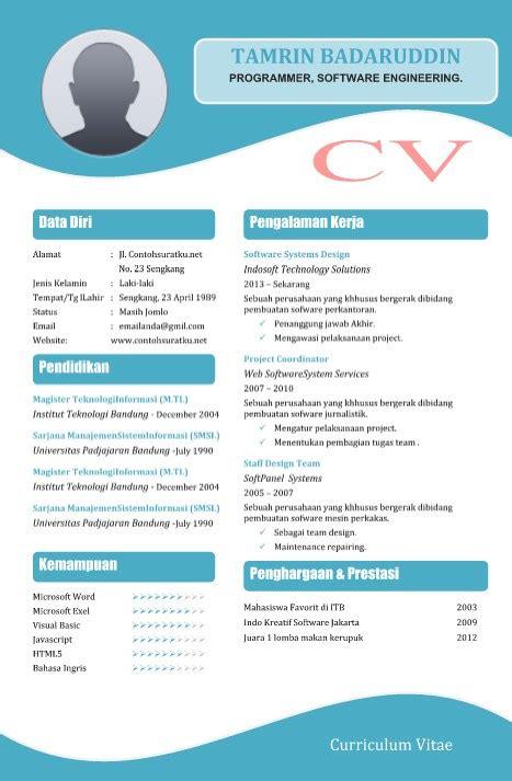 contoh curriculum vitae cv daftar riwayat hidup atau