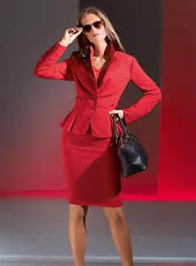 Red Two Piece Skirt Suits Women