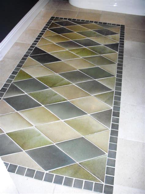 create  inlaid tile rug  tos diy