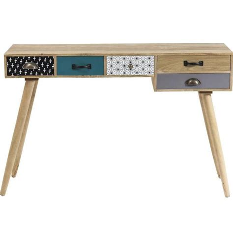 petit bureau noir bureau console scandinave 5 tiroirs couleur achat