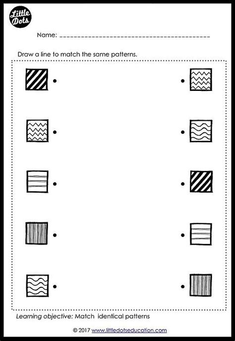 patterns matching worksheet  pre   kindergarten