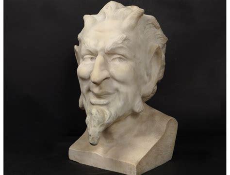 beautiful marble bust sculpture carrara satyr wildlife