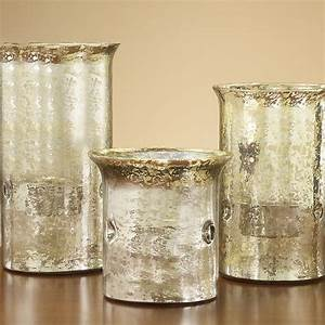 set of three mercury glass candle holders traditional With kitchen cabinets lowes with glass candle holder set of 3