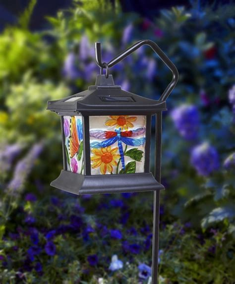 hanging stained glass l led light solar powered outdoor