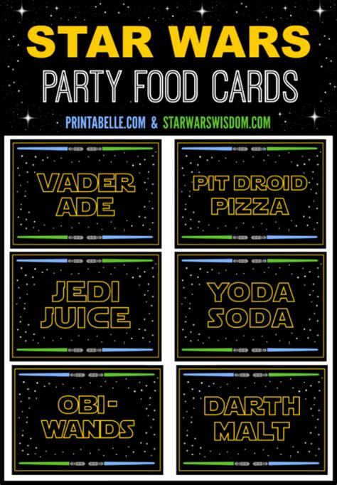 star wars party food cards printable   sign