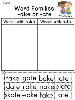 word families sort worksheets entire year set by miss