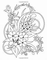 Easy Simple Designs Coloring Flower Vine Stress Adult Patterns Pages Relieving Flowers Amazon Books Colouring Cute Spring Mindful Sheets sketch template