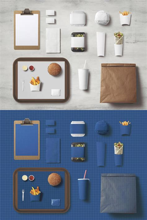 Mockups design is a site where you can find free premium mockups that can be used in your private and commercial work. Free Fast Food Identity Mockup   Mockuptree