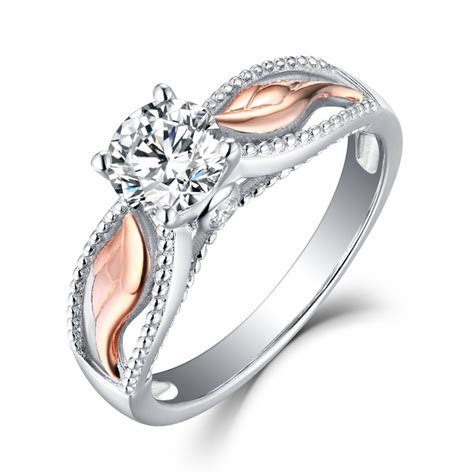 angel wings  cut white sapphire rose gold sterling