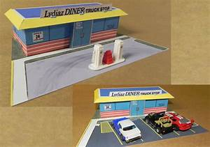 afx speedsteer diner for diorama free paper model download With afx templates