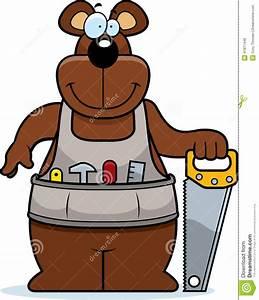 Cartoon Woodworking Bear Stock Vector - Image: 41817448